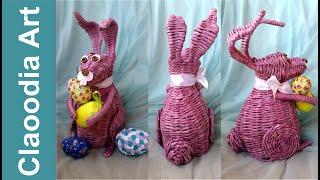 Królik, zając z papierowej wikliny #1 (rabbit, bunny, wicker paper)