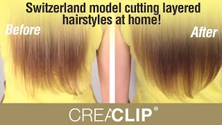 getlinkyoutube.com-Switzerland model cutting layered hairstyles at home! Long Bangs & Layers