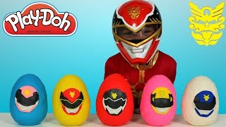 getlinkyoutube.com-Power Rangers Megaforce Play-Doh Surprise Eggs Opening Fun With Red Ranger Ckn Toys