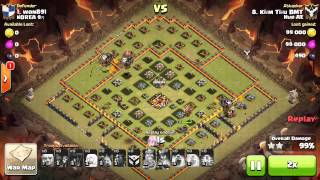 getlinkyoutube.com-2 clan wars 3 stars with healer and lavaloon th10
