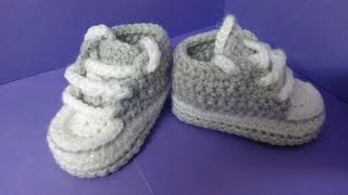 How to crochet My easy new born baby converse style slippers p2