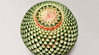 getlinkyoutube.com-Watermelon Beautiful Cactus Flower - Advanced Lesson 15 By Mutita Thai Art Of Fruit And Veg Carving
