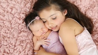 getlinkyoutube.com-Newborn Baby Girl with Sweet Sister Photographed in studio with Ana Brandt
