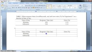 Apa Formatted Table In Ms Word 2010 Youtube