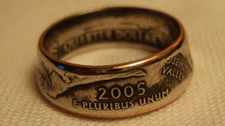 getlinkyoutube.com-Making Double Sided Coin Rings, Smaller Womens Size