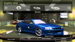 getlinkyoutube.com-Car Castomization - NFS Underground 2 HD : Nissan Skyline R34 Customization