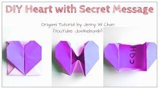 DIY Origami Heart Box & Envelope with Secret Message - Pop-Up Heart