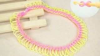 getlinkyoutube.com-Rubber Band Jewelry - Make Fringe Rubber Band Necklace with Hook