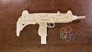 How to make a VERY EASY Full auto UZI [Rubberband Gun] - Free templates
