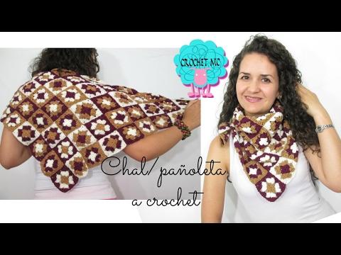 Tutorial Chal/Pañoleta a crochet - básico de square granny
