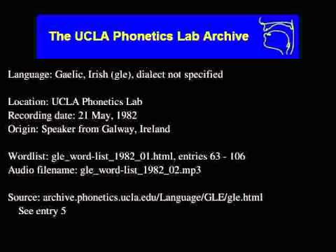 Gaelic, Irish audio: gle_word-list_1982_02
