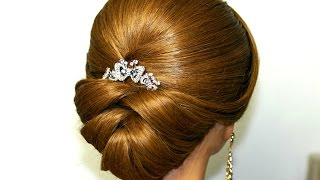 getlinkyoutube.com-Wedding hairstyle for medium long hair. Bridal updo