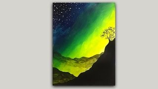 getlinkyoutube.com-Acrylic Painting Mystical Mountain Sunrise Silhouette Painting