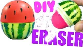 DIY WATERMELON ERASER | EASY Back to School Supplies 2016