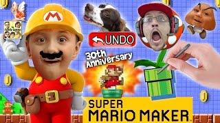 getlinkyoutube.com-Lets Play SUPER MARIO MAKER!  Derpy Mushrooms + Real Life Undo Button? w/ AMIIBO Unboxing (FGTEEV)