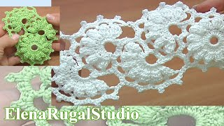 getlinkyoutube.com-Crochet Lace Strip Tutorial 2 Part 2 of 2 One-Side Crochet Motif Tape