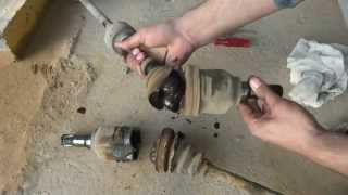 getlinkyoutube.com-Car axle rebuilding. Drive shaft Boot rubbers replacement.