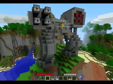 Minecraft Robots TNT Cannon War, Fire Arrows Machine Guns on Our Server!