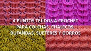 getlinkyoutube.com-4 Puntos tejidos a crochet para colchas, chalecos, bufandas, sueteres y gorros