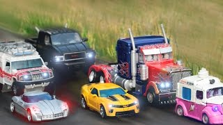 getlinkyoutube.com-Transformers Movie 2 ROTF Autobot Buster Optimus Prime Bumblebee Truck 6 Vehicles Robot Car Toys