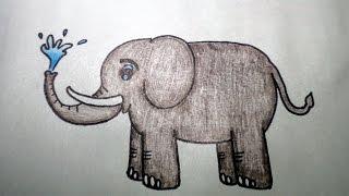 วาดรูป ช้าง สอนวาดรูปการ์ตูนน่ารักง่ายๆ สอนวาดรูปการ์ตูนระบายสี How To Draw Elephant Cartoon