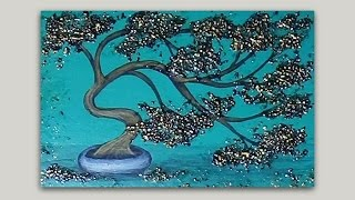 getlinkyoutube.com-Golden Bonsai Tree Acrylic Painting with Texture