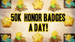 Castle Clash How to Get 50k Honor Badges a Day!