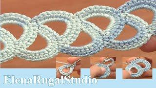 Crochet Simple  Lace Tape Tutorial 8 Кружева из лент