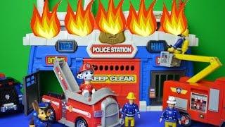 getlinkyoutube.com-Paw Patrol Police Fire Fireman Sam Pontypandy Marshal Chase Elvis Ofiicer Steel WOW