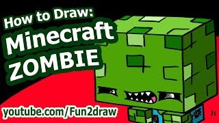 getlinkyoutube.com-How to Draw a Minecraft Character - Minecraft Zombie - Fun2draw easy drawing