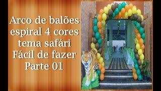 getlinkyoutube.com-Diy ballon arch-  Arco de bola espiral 4 cores tema safári , Parte 01