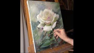 getlinkyoutube.com-Белая роза. Speed painting. Alla Prima. Process of creating oil painting. Rose (study).