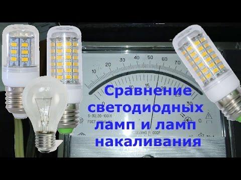 Сравнение светодиодных ламп с лампами накаливания по яркости