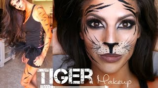 getlinkyoutube.com-Tiger Makeup Tutorial + Outfit | Halloween 2014