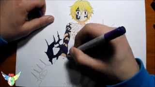 Copic speed draw Meliodas (Demon form) from Nanatsu no taizai メリオダス