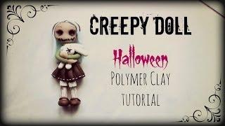 getlinkyoutube.com-Creepy Doll ▪ Halloween ▪ Polymer Clay tutorial
