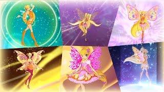 getlinkyoutube.com-Winx Club - Stella All Full Transformations up to Tynix! HD!