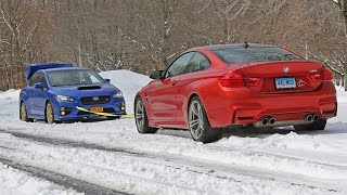 getlinkyoutube.com-WRX STI vs BMW M4 snow tow (summer tires AWD vs winter tires RWD)
