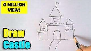 getlinkyoutube.com-How to Draw Castle for Kids