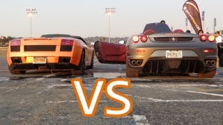 getlinkyoutube.com-Lamborghini Gallardo Spyder Revs And Interior VS Ferrari F430 Spyder Revs And Interior