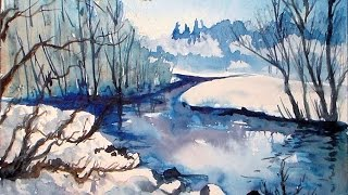 getlinkyoutube.com-icy stream winter landscape in blue