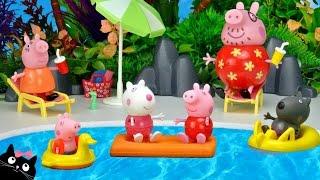 Peppa Pig va a la Piscina del Parque Acuatico de Playmobil - Juguetes de Peppa Pig