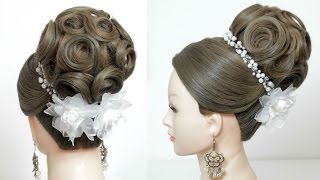 getlinkyoutube.com-Bridal hairstyle for long hair tutorial. Wedding updo. Perfect Bun