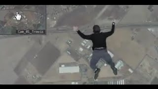 getlinkyoutube.com-Man jumps out of plane with no parachute, lands on trampoline