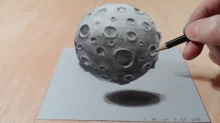 getlinkyoutube.com-How to Draw Moon, 3D Artistic Drawing