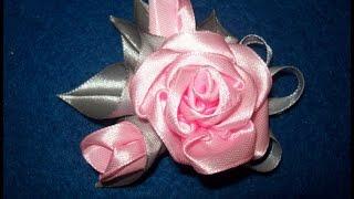 getlinkyoutube.com-Мастер класс. Роза из узкой атласной ленты.