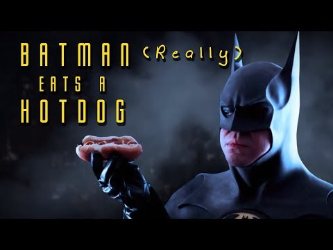 Batman Eats a Hotdog