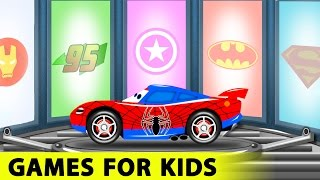 getlinkyoutube.com-Spiderman and Lightning McQueen Cars Cartoon for Kids with Fun Race Learn Colors for Toddlers