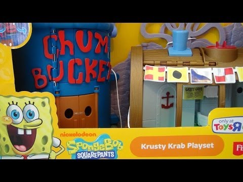 SPONGEBOB SQUAREPANTS KRUSTY KRAB PLAYSET IMAGINEXT VIDEO TOY REVIEW