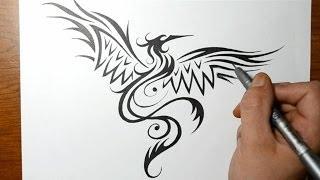 getlinkyoutube.com-How to Draw a Phoenix Bird - Tribal Tattoo Design Style